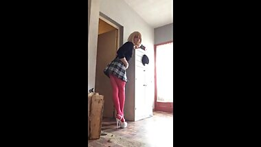 Crossdresser Faustine Pink Pantyhose High Heels
