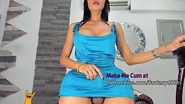 Big Cock Latina TGirl Masturbates on WebCam Live Part 3