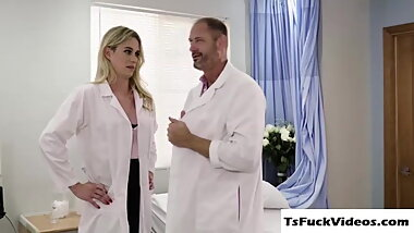 Nurse shemale Nikki Vicious gets bang inside her patien
