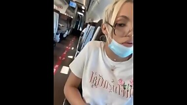 Shemale Flashing Tits and Cock on Train