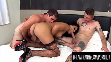 Dream Tranny - Horny Tbabes Trading Blowjobs in Threeways Compilation 3