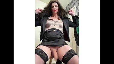 Gorgeous Shemale Milf wanks herself off and wags her cock x