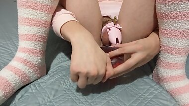 Caged Sissy takes HUGE dildo!