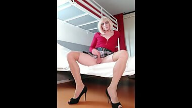 Sissy Crossdresser Faustine Blow Job Training Dildo