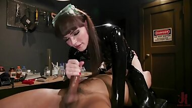 Natalie plays with his male slaves