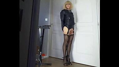 Crossdresser Faustine Leather Jacket High Heels Stockings Dirty show