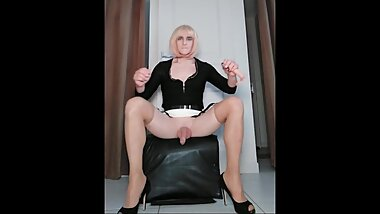 Crossdresser Faustine Cockring Stroking and Sucking Dildo