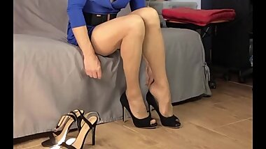 Crossdresser Faustine Flower Blue Dress and High Heels Shoes Fitting