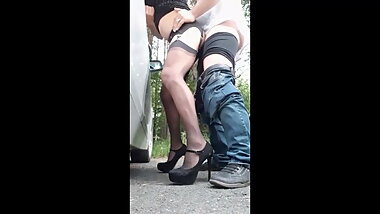 Assfucked beside the busy highway