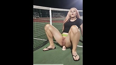 Jenna rides dildo at the tennis courts